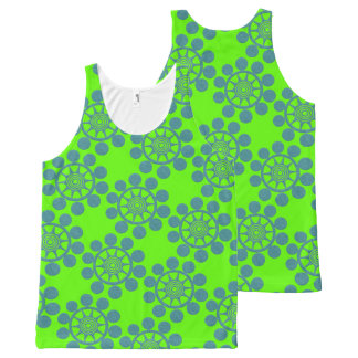 Bright Green and Blue Bubble All-Over Print Singlet