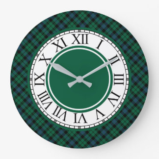 Bright Green and Blue MacKay Clan Tartan Clock