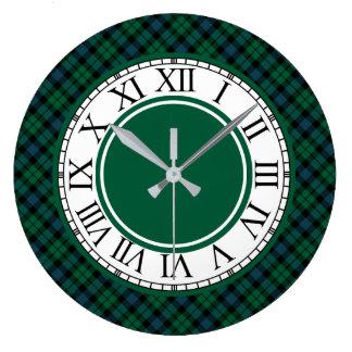 Bright Green and Blue MacKay Clan Tartan Large Clock