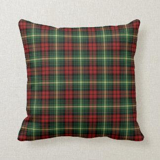 Bright Green and Red Clan Martin Scottish Plaid Cushion