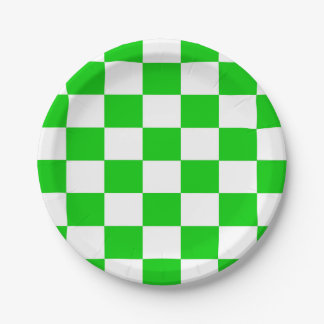 Bright Green and White Checkerboard Paper Plate