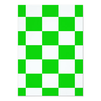 Bright Green and White Checkerboards Card