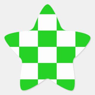 Bright Green and White Checkerboards Star Sticker