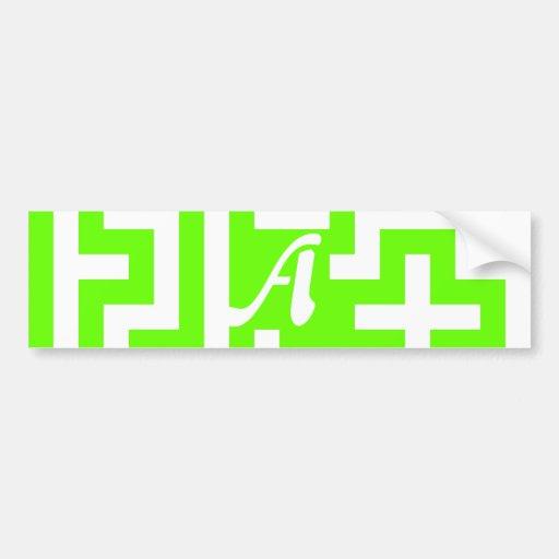 Bright Green and White Maze Monogram Bumper Stickers