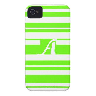 Bright Green and White Random Stripes Monogram iPhone4 Case