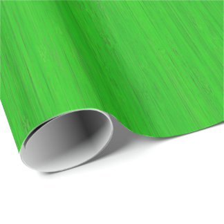 Bright Green Bamboo Wood Grain Look Wrapping Paper