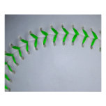 Bright Green Baseball / Softball Stitches Posters