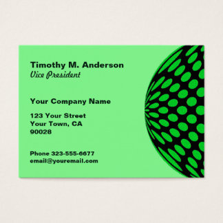 Bright Green Black Polka Dot mod circle Business Card