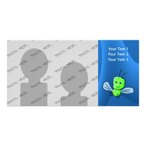Bright Green Bug Flying Insect Picture Card