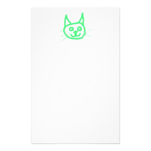 Bright Green Cat. Personalized Stationery