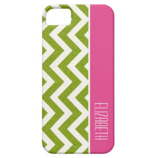 Bright Green Chevron, Pink Stripe iPhone 5 Covers