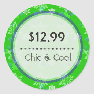 Bright Green Christmas Snowflakes Price Tag Round Stickers