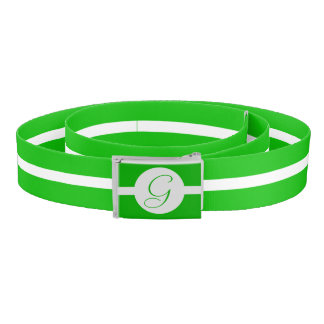 Bright Green Circle Monogram Belt