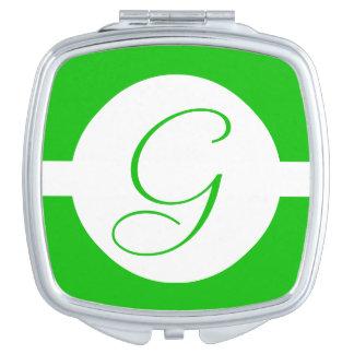 Bright Green Circle Monogram Compact Mirror