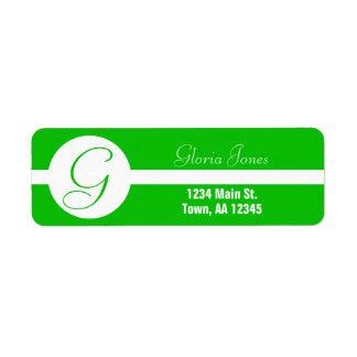 Bright Green Circle Monogram Return Address Label
