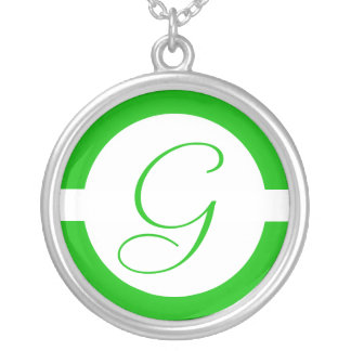 Bright Green Circle Monogram Silver Plated Necklace