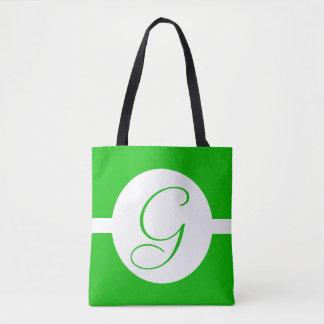 Bright Green Circle Monogram Tote Bag