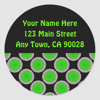 Bright Green Circles Address Labels Stickers