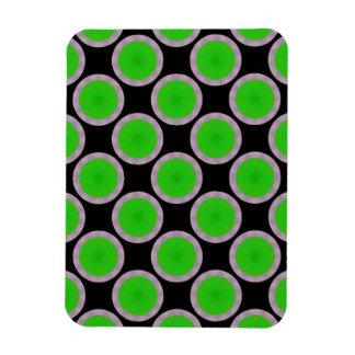 bright green circles pattern rectangular photo magnet
