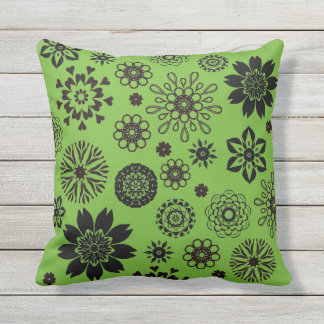 Bright green cushion with rosette flowers