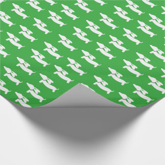 Bright Green Dachshund Wiener Dog Gift Wrap Paper