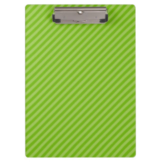 Bright Green Diagonal Stripes Clipboard