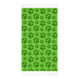 Bright green dog paw print pattern personalised photo card