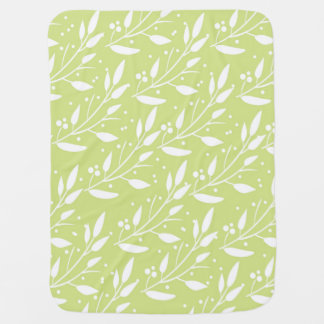 Bright Green Floral Baby Blanket