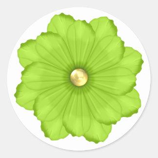 Bright Green Flower Envelope Seal Sticker