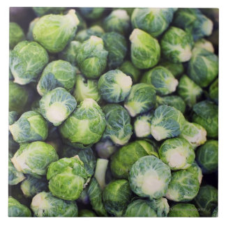 Bright Green Fresh Brussels Sprouts Large Square Tile