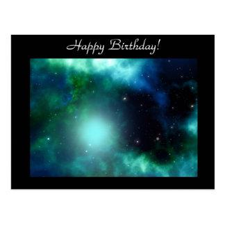 Bright Green Galaxy Post Card