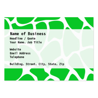 Bright Green Giraffe Print Pattern. Large Business Cards (Pack Of 100)