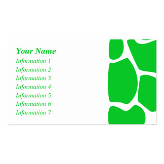Bright Green Giraffe Print Pattern. Double-Sided Standard Business Cards (Pack Of 100)