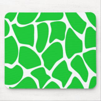 Bright Green Giraffe Print Pattern. Mousepads