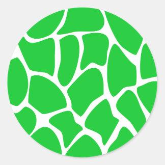 Bright Green Giraffe Print Pattern Stickers