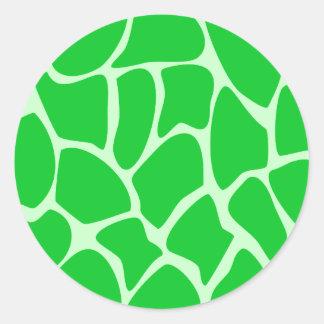 Bright Green Giraffe Print Pattern. Round Stickers