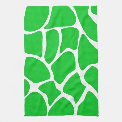 Bright Green Giraffe Print Pattern. Towels