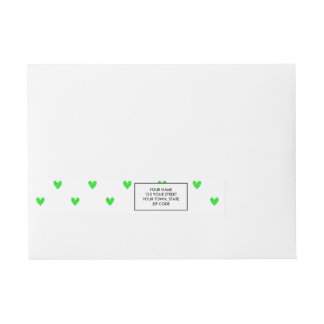 Bright Green Glitter Hearts Pattern Wraparound Address Label