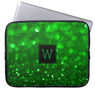 Bright Green Glitter & Sparkles Laptop Sleeve