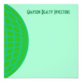Bright Green Global Business 13 Cm X 13 Cm Square Invitation Card