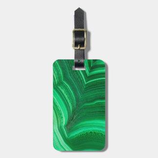 Bright green Malachite Mineral Luggage Tag