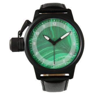 Bright green Malachite Mineral Watch