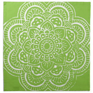 BRIGHT GREEN MANDALA PLACEMAT NAPKIN