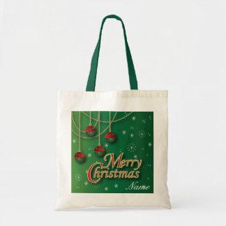 Bright Green Merry Christmas Budget Tote Bag