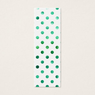Bright Green Metallic Faux Foil Polka Dot White Mini Business Card