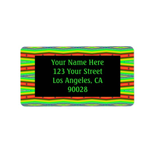 bright green orange stripes address label