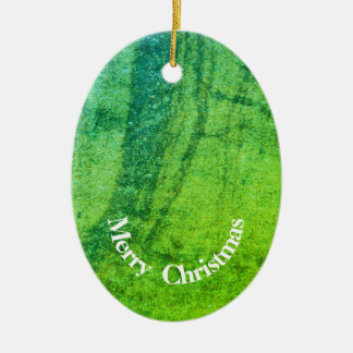 Bright green oval Christmas ornament