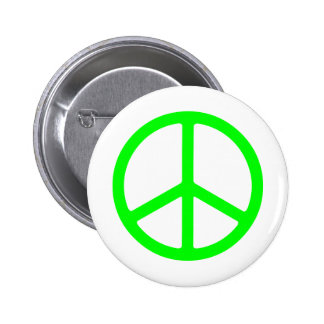 Bright Green Peace Sign 6 Cm Round Badge
