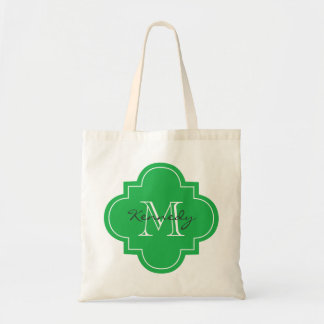Bright Green Personalized Monogram Tote Bag