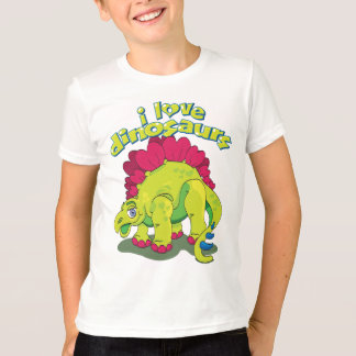 Bright Green & Pink Happy Dinosaur T-Shirt